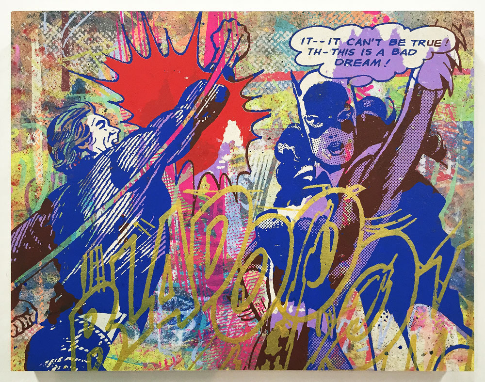 Greg Gossel  It Can't Be True... (Blue)  Edition of 6 with different color ways 18 x 14 x 1.75 inches - Screen Print and Mixed Media on Cradled Wood Panel