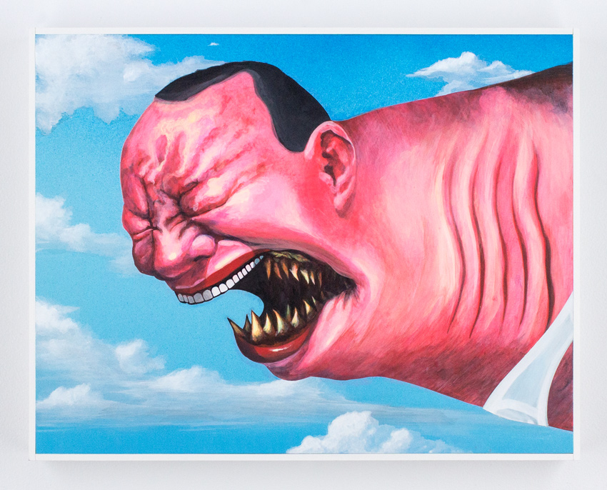 Shark Toof  Cici N'est Pas Une Yue Minjun 18 x 14 x 2 Inch Acrylic on Cradled Wood Panel    Click   here   for additional info
