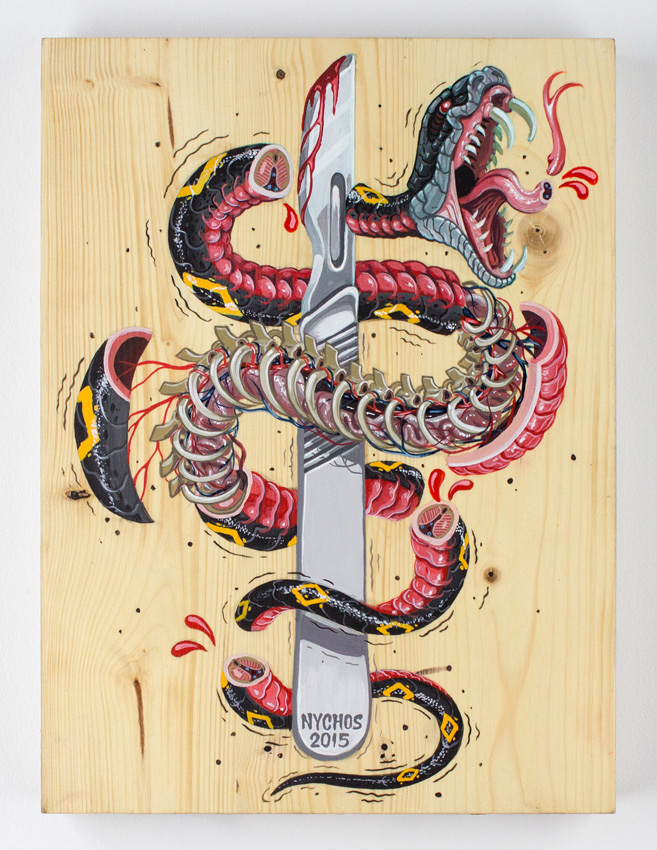Nychos I Slice For Livin 18 x 14 x 2 inch - Acrylic on Solid Wood Butcher Block  SOLD