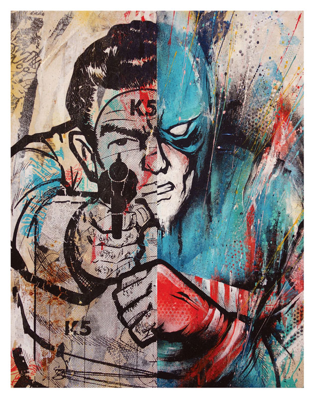 Meggs Captain America Target (Classic Edition 1) 18 x 14 x 1.5 inches - Acrylic, Aerosol, Screenprint & Collage on Cradled Wood Panel SOLD