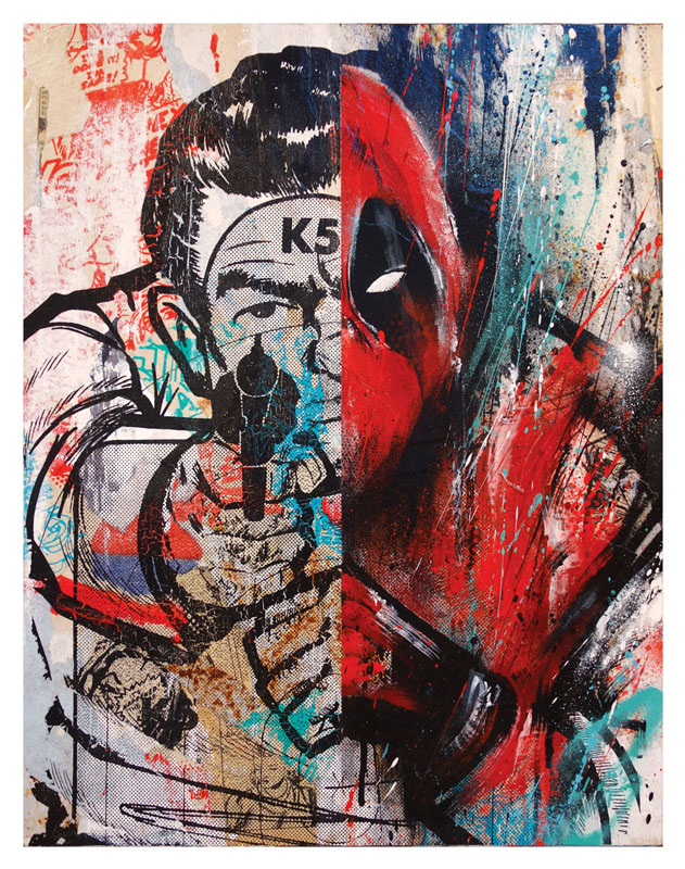 Meggs Deadpool (Classic Edition 1) 18 x 14 x 1.5 inches - Acrylic, Aerosol, Screenprint & Collage on Cradled Wood Panel Click here for additional info