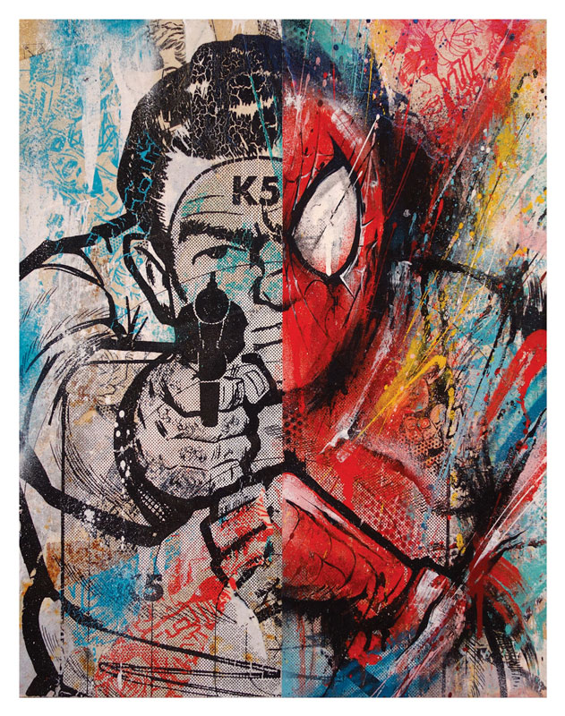 Meggs   Spiderman     (Classic Edition 1) 18 x 14 x 1.5 inches - Acrylic, Aerosol, Screenprint & Collage on Cradled Wood Panel   SOLD