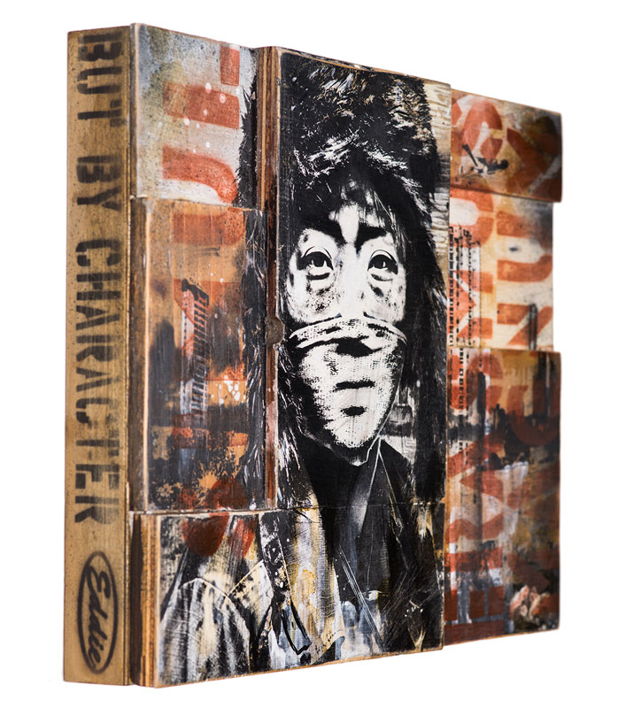 Eddie Colla  Not By Victory Edition of 5   18 x 14 x 1.75 inches - Screen Print and Mixed Media on Cradled Wood Panel    Click   here   for additional info