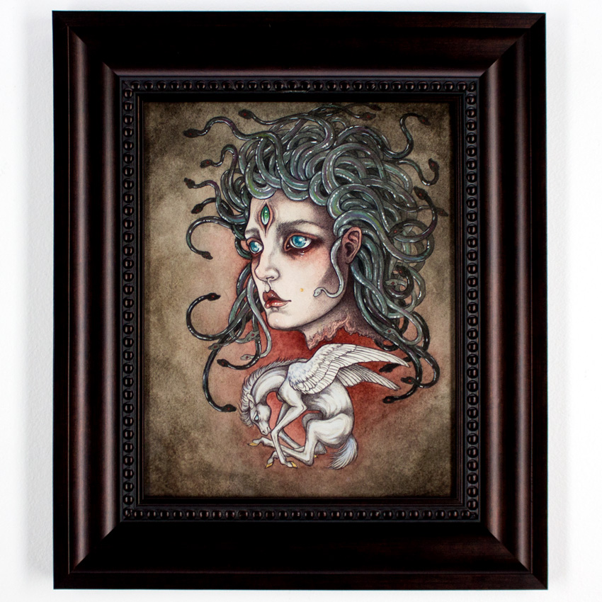 "Caitlinn Hackett Child of Medusa 7.75"" x 10"" Ballpoint Pen, Watercolor on Paper 12x14 Framed $490"
