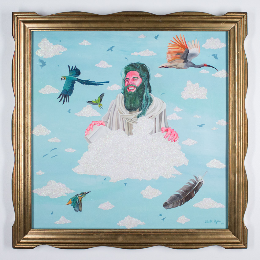 "Celeste Byers Jesus on Cloud 9 32.5"" x 32.5"" Acrylic and Glitter on Wood Panel 33"" x 33"" x 1.25"" Framed $4,200"