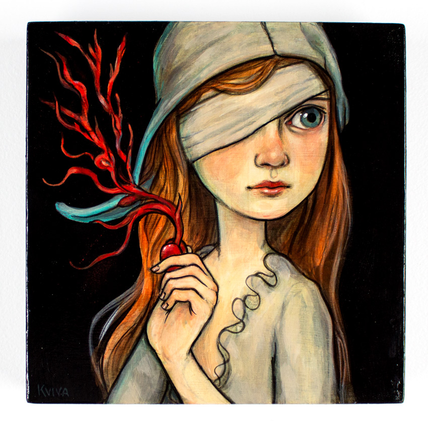 "Kelly Vivanco Red Seed 8.75"" x 8.75"" x 1.75"" Acrylic on Panel $480"