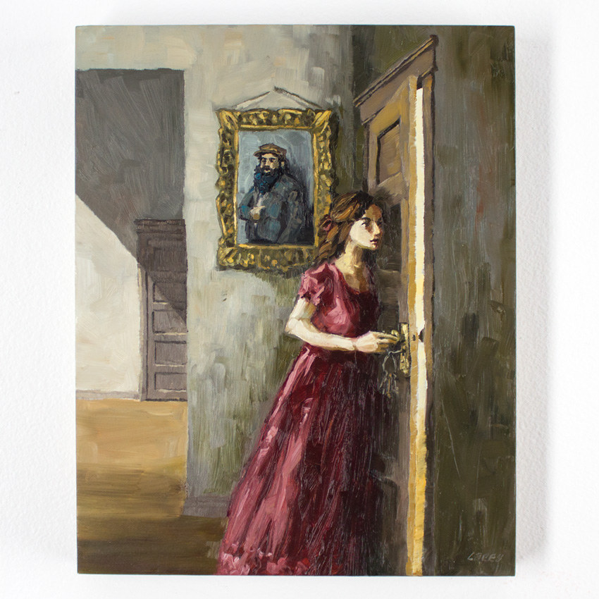 "Lacey Bryant The Forbidden Door 8"" x 10"" x 1"" Oil on Wood Panel $225"