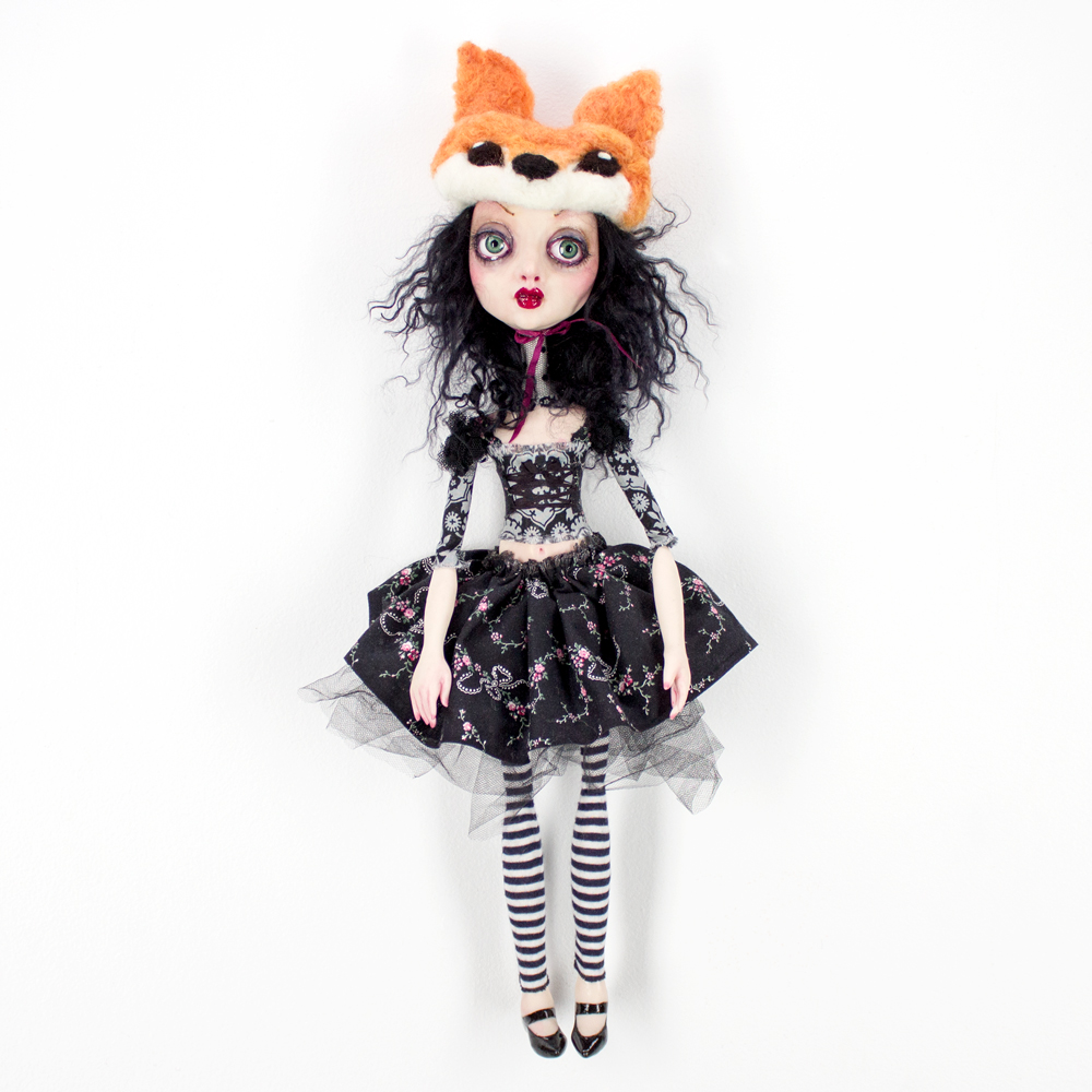 "Sheri Debow Little Fox Sister 19"" x 10"" x 3"" Handmade Doll, Polymer Clay, Acrylic, New and Vintage Fabrics $695"