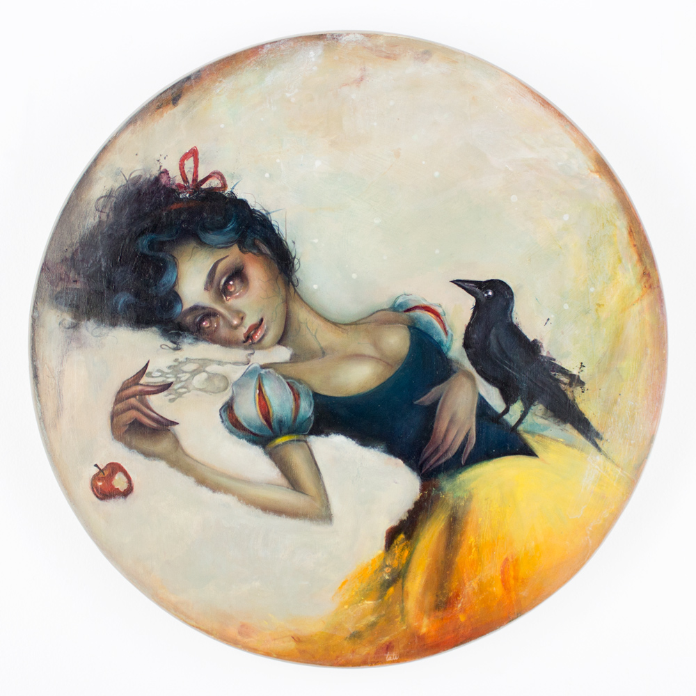 "Tatiana Suarez Venenosa 17.5"" Oil on Wood Disk SOLD"