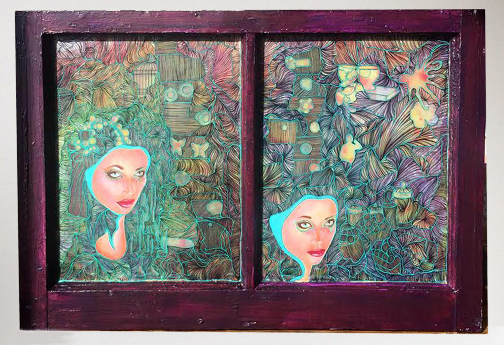 DeEtta Harris Cinder's Tea 28 x 22 x 2 Mixed Media On Found Window Frame $1200