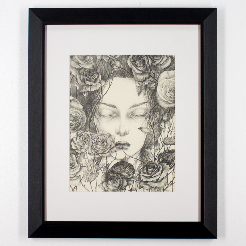 "Liza Corbett Briar Rose 11"" x 14"" Graphite and Colored Pencil on Paper Framed $500"