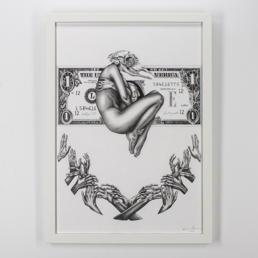 Mariana    Villanueva   Blood of God   Graphite and ink on cotton paper  59 x 42   cm // 23 x 16 .5 inches   $775