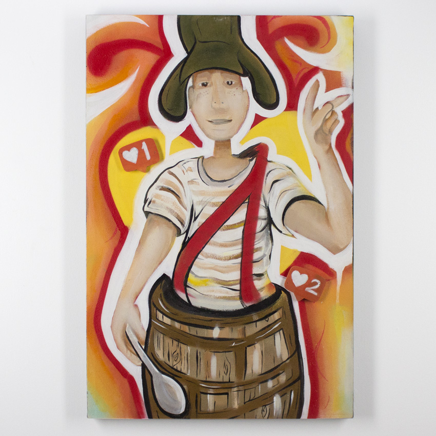 Freddy Diaz    El Chavo   Acrylic and Aerosol on Canvas 60 x 91 cm // 24 x 36 inches   $500