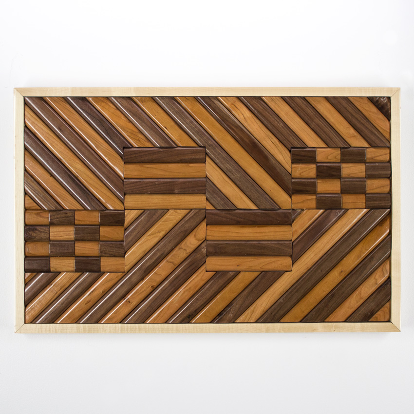 "Alonso ""Chivo"" Guzman    Wooden Serape   Satined Pine and Maple 96 x 76 cm //   30   x 38   inches $600"