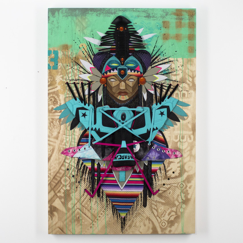 Marka27    Levitation Acrylic & Aerosol on Wood Panel with Laces & Leather Textile 91.5 x 60 cm // 24 x 36 inches $3000
