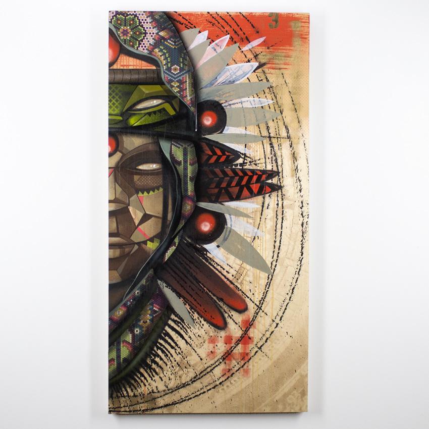 Marka27    Indio Nocturnal   Acrylic, Aerosol & Enamel on Wood Panel with Textile   123 x 60 cm // 24 x 48 inches $2500