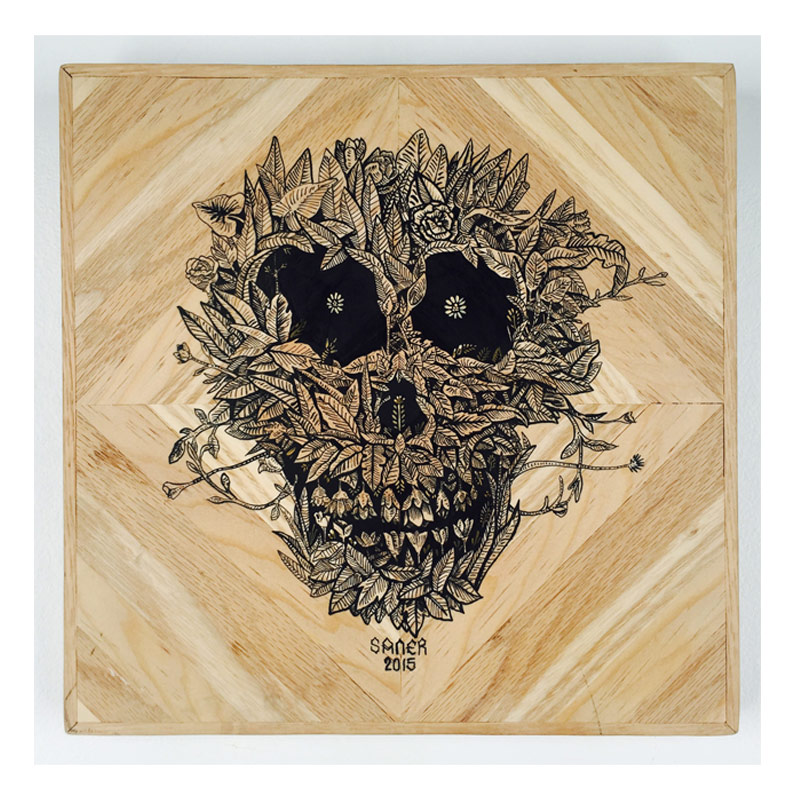Saner     Ciclo de la Vida    Ink on wood panel 33 x 33 cm // 13.5 x 13.5 inches    $1,200
