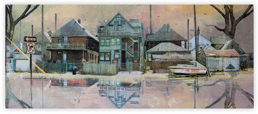 Liz Brizzi Out Of The Water  15 x 36 Inches   Photo collage and acrylic   on wood panel    SOLD