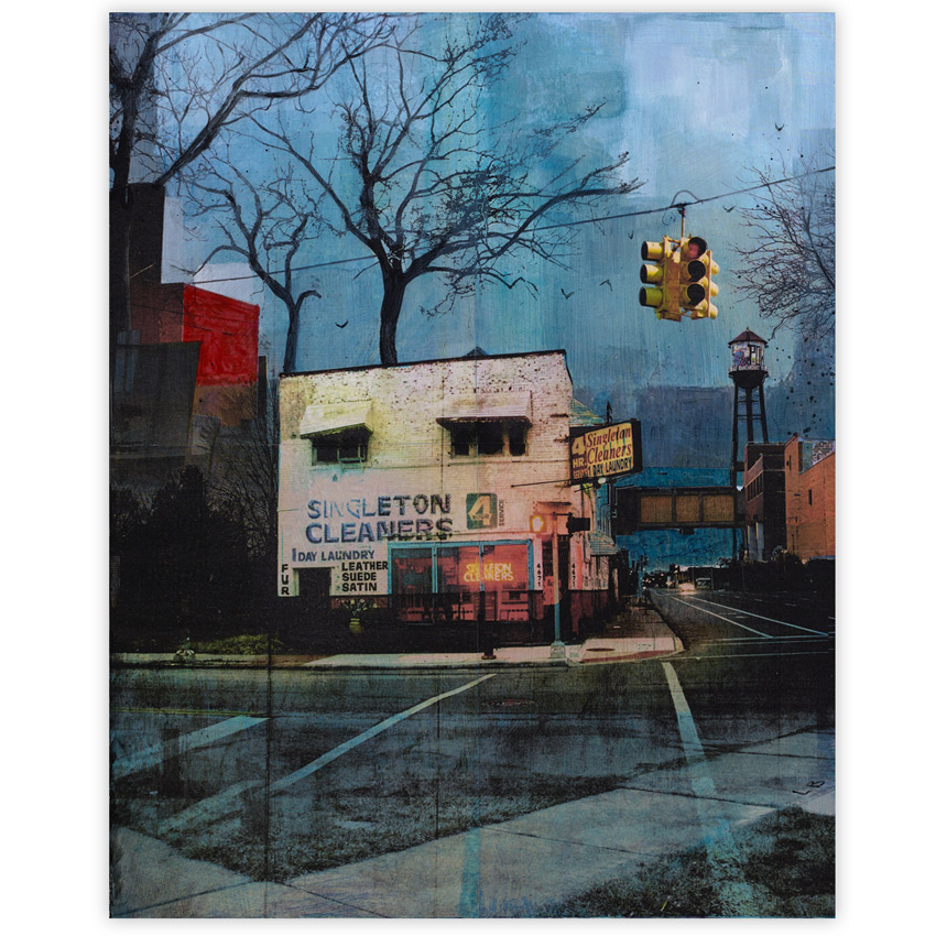 Liz Brizzi Singleton Cleaners 16 x 20 Inches Photo collage and acrylic on wood panel  SOLD