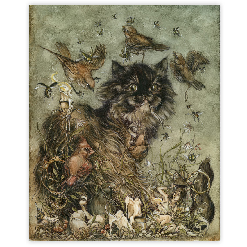 Jeremy Hush The Mischievous and the Wayward 16 x 20 Inches Ink and watercolor on paper - Framed $1,800