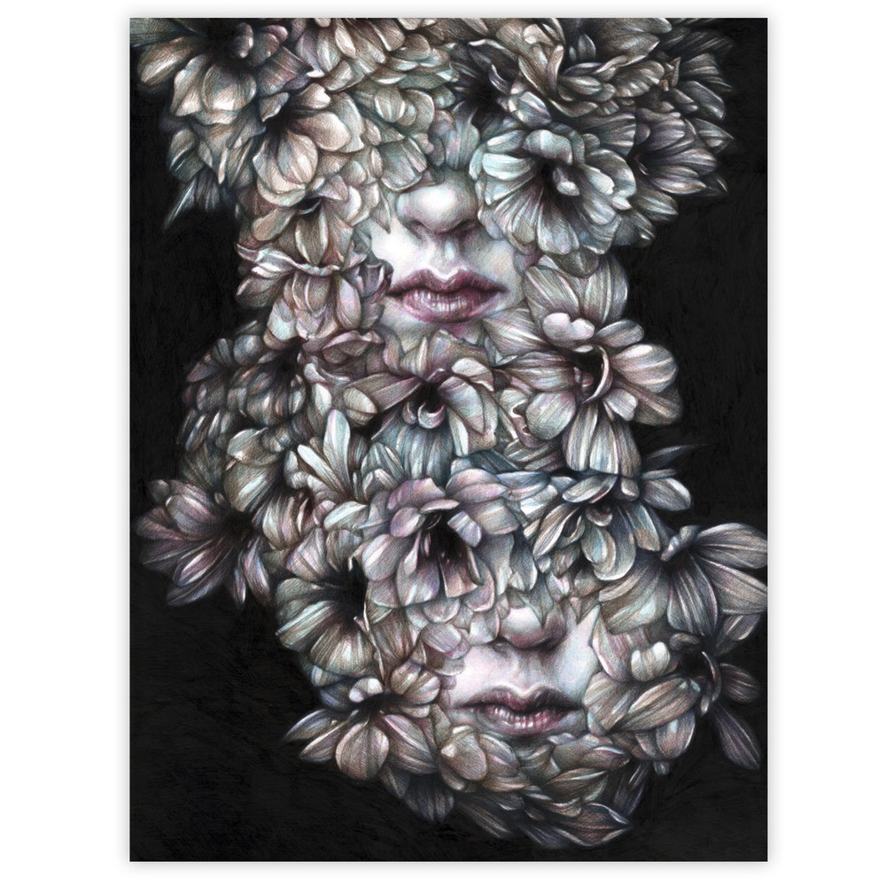 Marco Mazzoni Comma, Dedicated to V 16 x 20 Inches Colored pencils on paper - framed $2,400