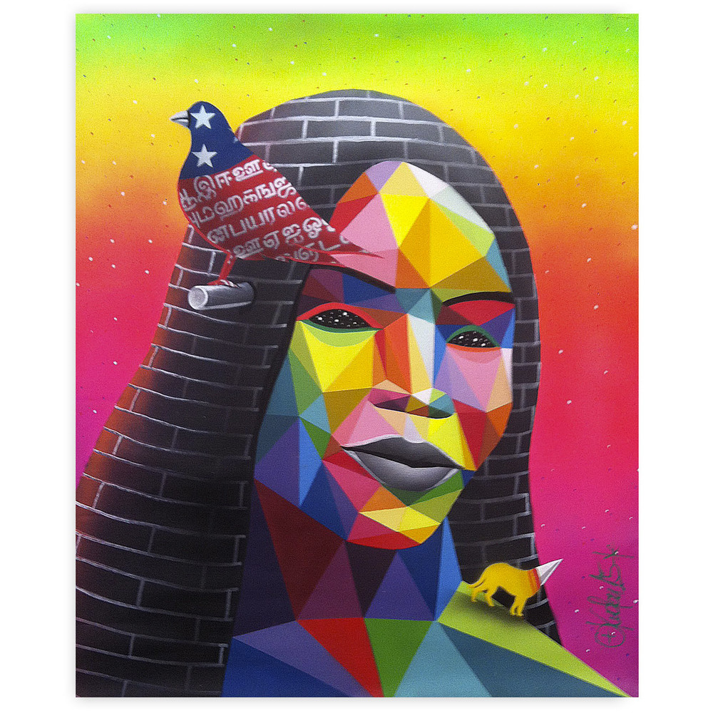 Okuda Cement Queen 16 x 20 Inches Spray paint and acrylic on wood panel $1,750