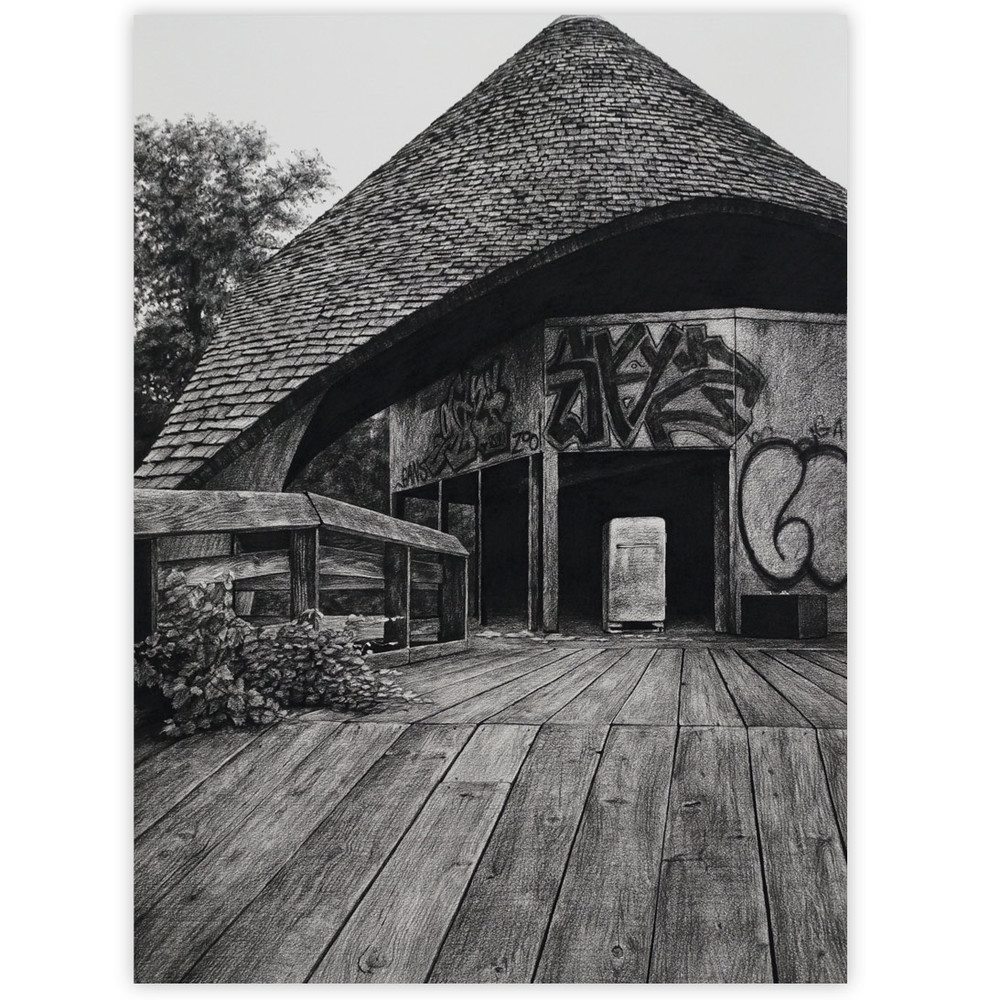 Stephanie Buer Belle Isle Zoo 20 x 27 Charcoal on paper - framed SOLD