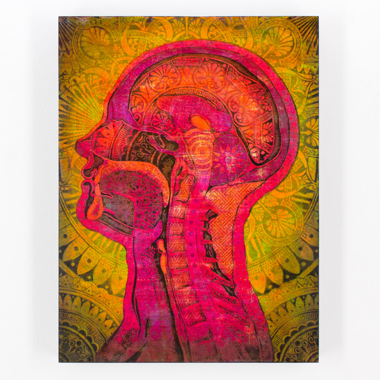 8. Beau Stanton Ornamented Man Purple/Yellow 12x16 Mixed Media & Screen Print On Cradled Wood Panel SOLD