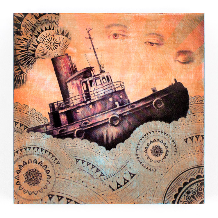 15. Beau Stanton Derelict Vessel Muted 12x12 Mixed Media & Screen Print On Cradled Wood Panel $700 -  Inquire  - Purchase directly on 1xRUN