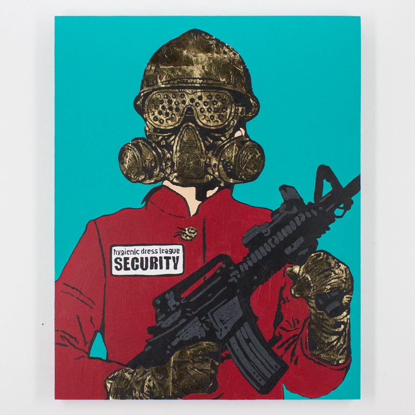 20. Hygienic Dress League Female Security 24x30 Acrylic & Gold Leaf on Cradled Wood SOLD