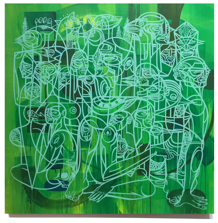 Doze Green Provacateurs 1 A (2015) 34 x 34 x 2 Inches Acrylic Hand Painted Backgrounds with Screen Print Overlay SOLD