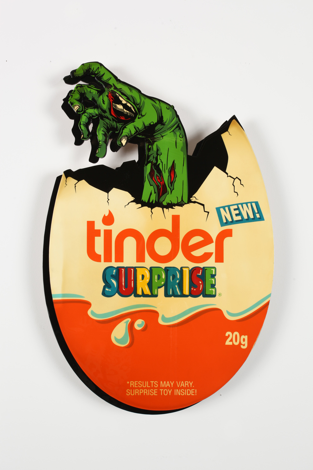 "Tinder Surprise -  24"" x 36"" Inch  Aerosol Stencil on Laser Cut Cradled Wood Panel Edition of 5, 1 Available $1000"