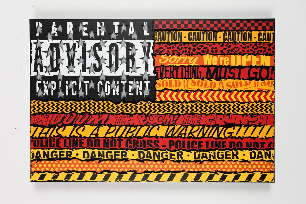 "WARNING!  24"" x 36"" x 2""  Inch Aerosol Stencil on Laser Cut Mounted Wood Panel $1250"