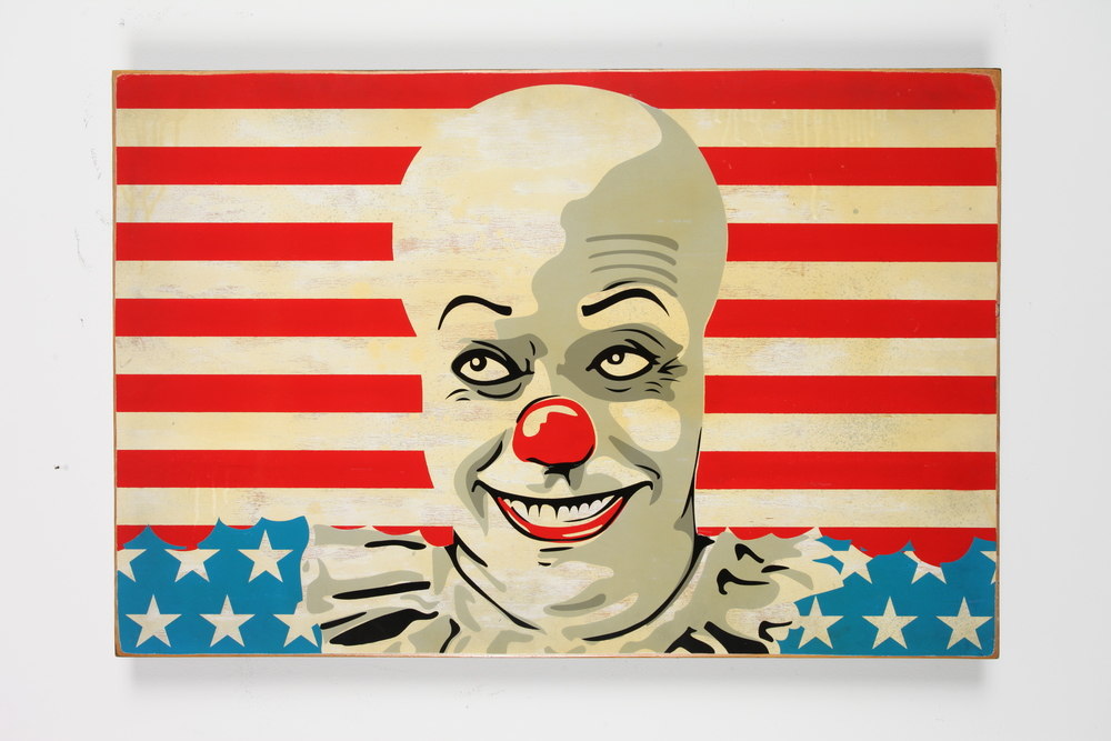 "It's a Wonderful Lie 24"" x 36"" x 2"" Inch Aerosol on Framed Birch Wood Panel.   Edition of 5 $950"