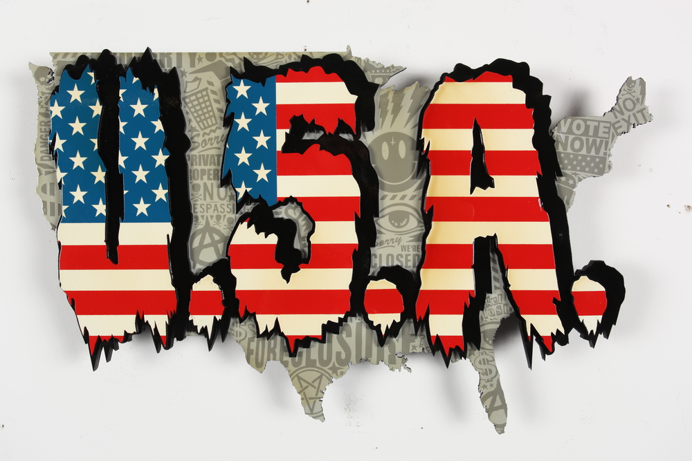 "State of the Union   24"" x 36"" x 2"" Inch   Aerosol Stencil on Laser Cut Mounted Wood Panel    SOLD"