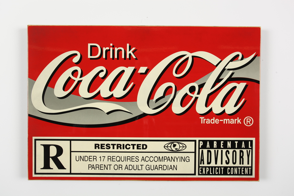 "The Coke  24"" x 36"" x 2"" Inch  Aerosol on Framed Birch Wood Panel.  Edition of 5 $850"