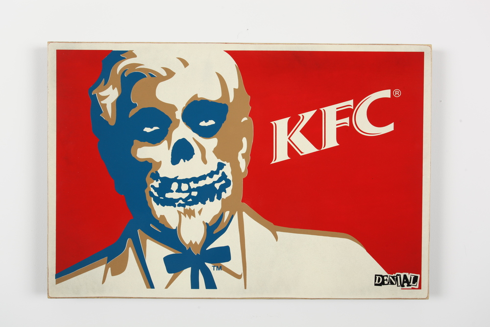 "Chicken Fiend Club 24"" x 36"" x 2"" Inch Aerosol on Framed Birch Wood Panel.   Edition of 5 $850"