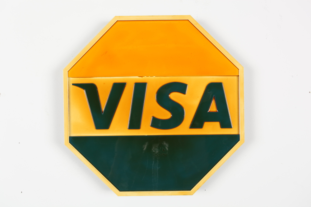 "STOP Visa  24"" x 24"" x 2"" Mixed Media   Cut Wood Assemblage  Edition of 5  $800"