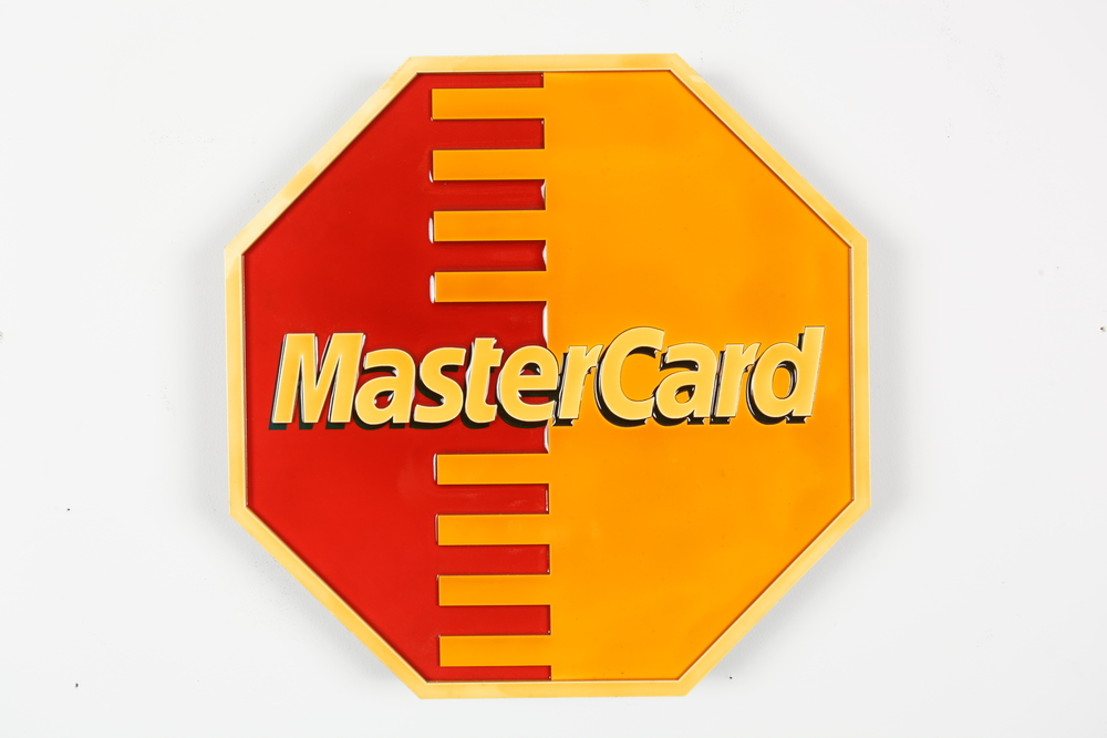 "STOP Mastercard 24"" x 24"" x 2"" Mixed Media Cut Wood Assemblage Edition of 5 $800"