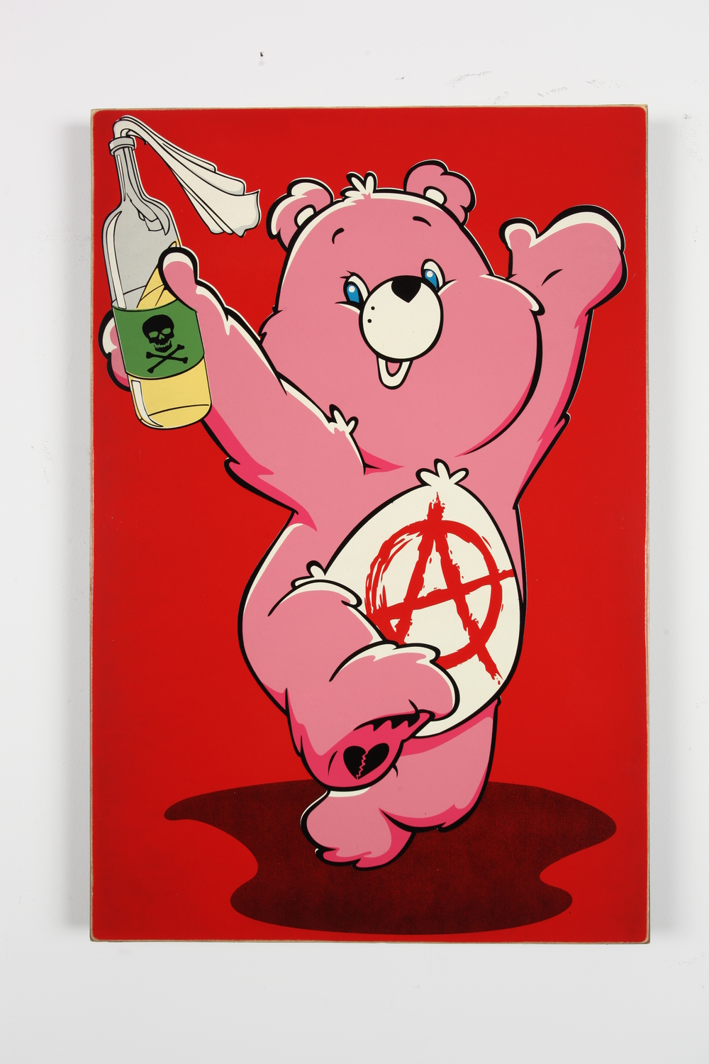 "I Don't Care Bear  24"" x 36"" x 2"" Inch  Aerosol on Framed Birch Wood Panel Edition of 10 $850"
