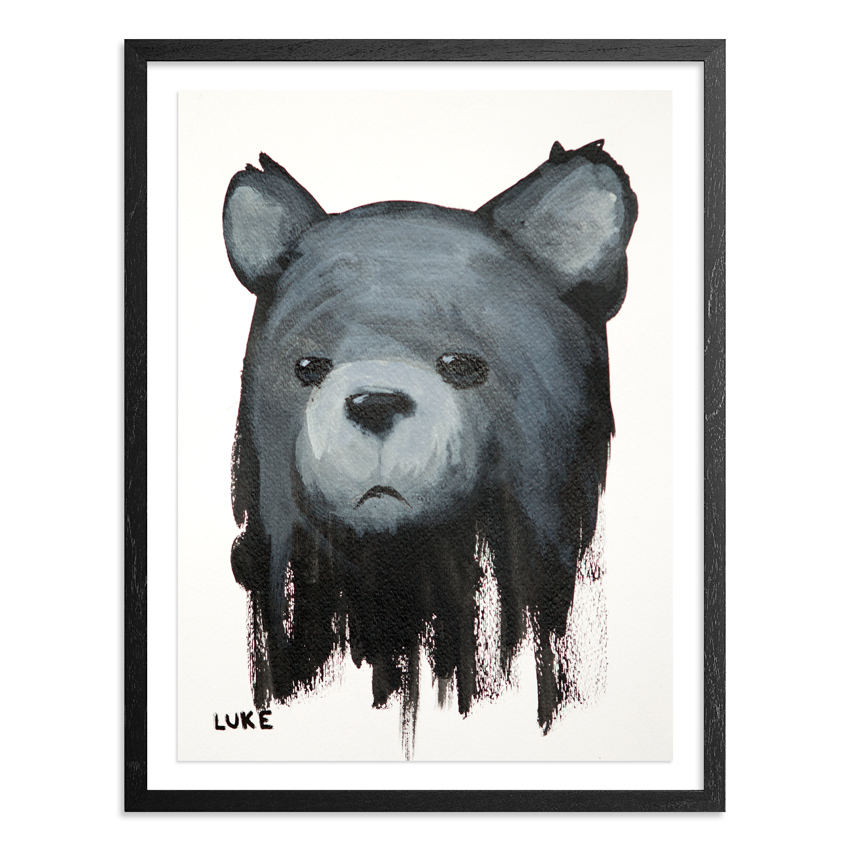 Character Study - Bear 9 x 12 Inch Acrylic & Graphite on 140lb Watercolor Paper Float mounted on acid free backing in a 1 inch black wood frame & UV glass SOLD