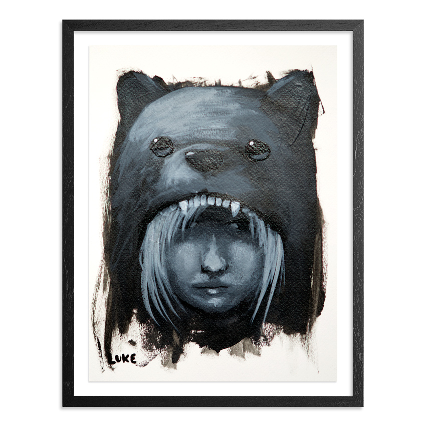 Character Study - Girl in Bear Hood 9 x 12 Inch Acrylic & Graphite on 140lb Watercolor Paper Float mounted on acid free backing in a 1 inch black wood frame & UV glass SOLD