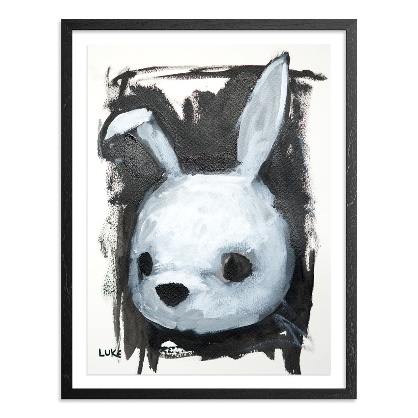 Character Study - Rabbit 9 x 12 Inch Acrylic & Graphite on 140lb Watercolor Pape Float mounted on acid free backing in a 1 inch black wood frame & UV glass SOLD