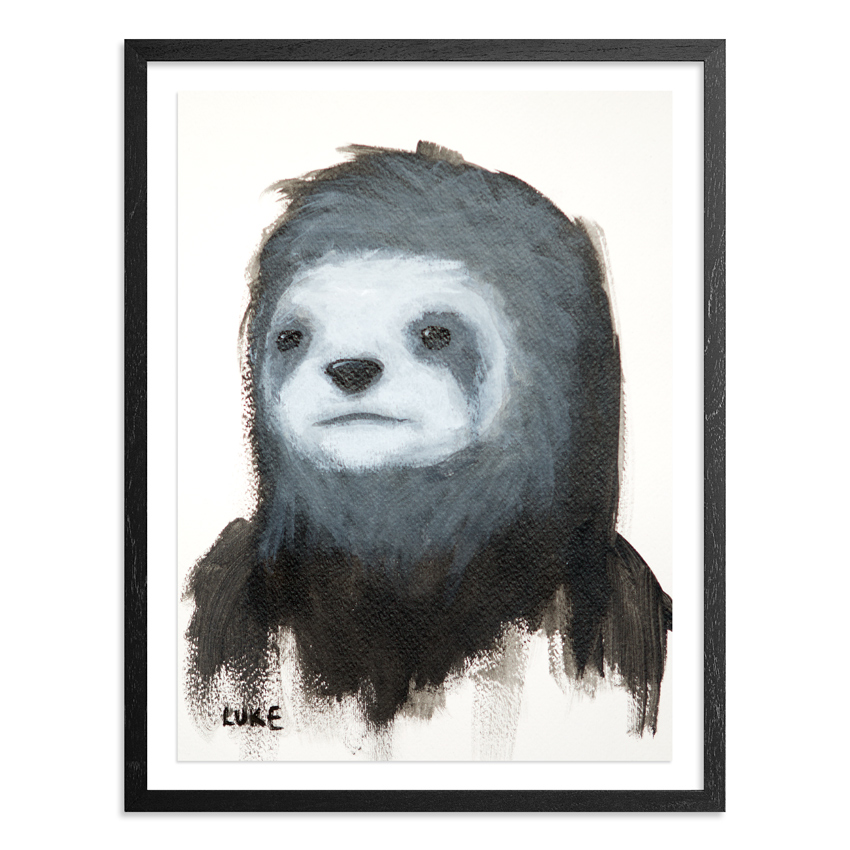 Character Study - Sloth   9 x 12 Inch Acrylic & Graphite on 140lb Watercolor Pape   Float mounted on acid free backing in a 1 inch black wood frame & UV glass  SOLD