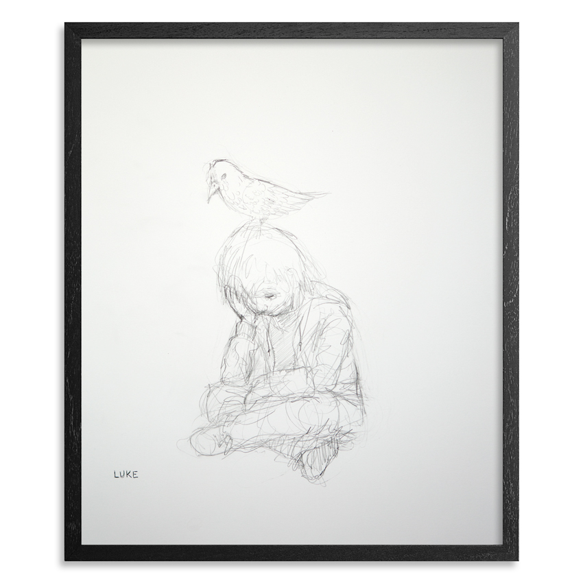 The Boy & The Bird 14 x 17 inch Graphite on 100lb Bristol Paper  1 inch   black wood frame & UV glass and   acid free backing  SOLD