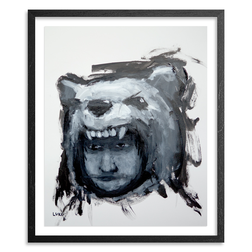 Boy in Bear Costume 14 x 17  Inch  Acrylic on 100lb Bristol Paper Float mounted on acid free backing in a 1 inch black wood frame & UV glass $1700