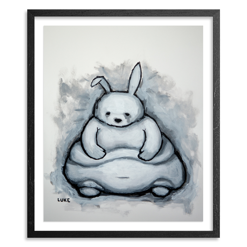 Rabbit (Obese) 14 x 17 Inch Acrylic on 100lb Bristol Paper Float mounted on acid free backing in a 1 inch black wood frame & UV glass SOLD