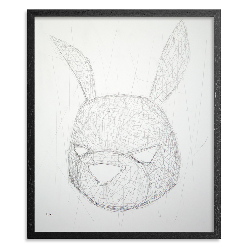 Rabbit Texture Study 14 x 17 Graphite on 100lb Bristol Paper 1 inch black wood frame & UV glass and acid free backing SOLD