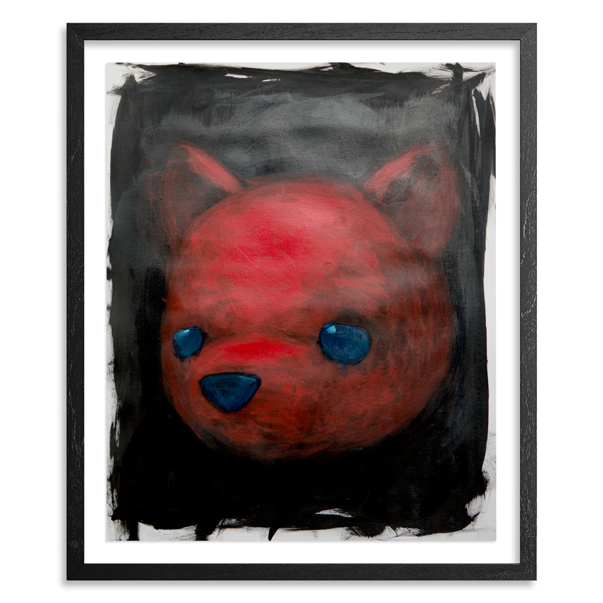 Red Bear  14 x 17 Acrylic on 100lb Bristol Paper   Float mounted on acid free backing in a 1 inch   black wood frame & UV glass  SOLD