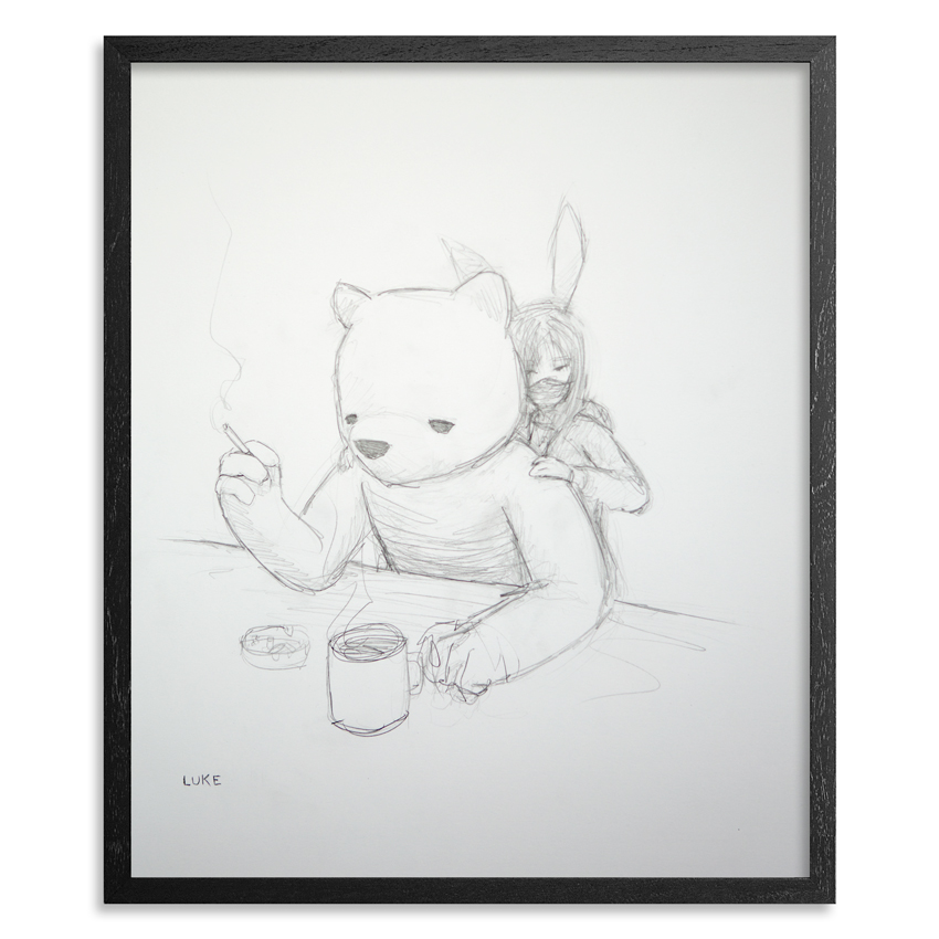 The Bear & The Bunny 14 x 17  Inch  Graphite on 100lb Bristol Paper 1 inch  black wood frame & UV glass and   acid free backing  SOLD